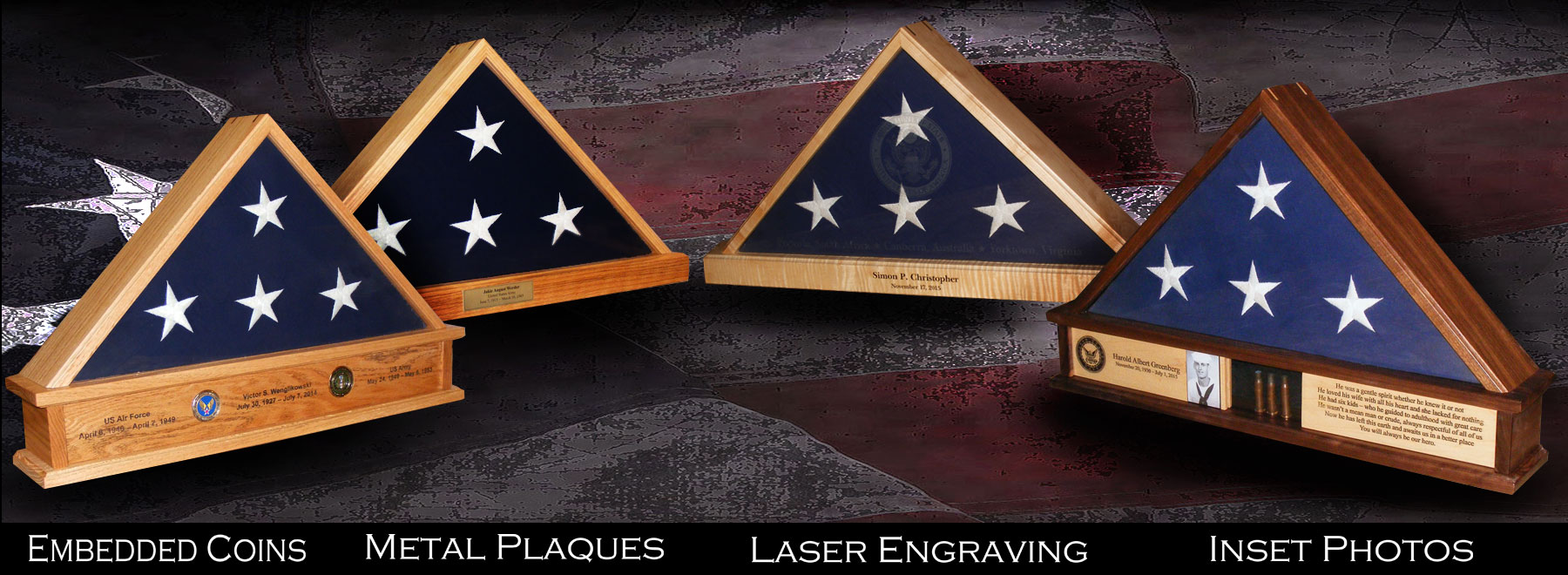 Plaques and Laser Engraving for Shadow Boxes & Flag Display Cases