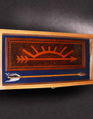 12x24x3-red-oak-shadow-box-with-leather-cub-scout-arrow-of-light