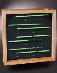 18x18x3-red-oak-shadow-box-with-drum-stick-collection