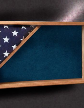red oak shadow box with 3x5 flag