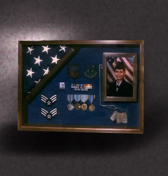 18x24 Shadow Box With 4x6 Corner Flag Frame