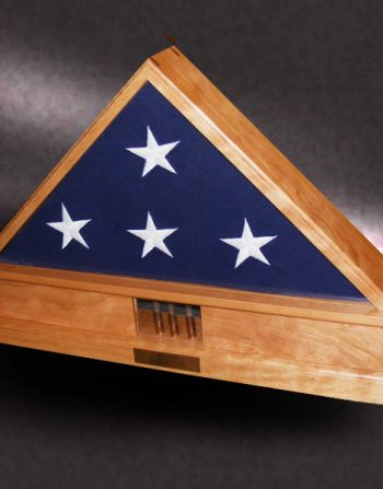 American Made Wood Flag Display Boxes cherry flag case for memorial flag with shell casings from funera