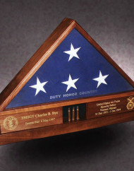 5×9-heavy-walnut-display-base-flag-case-with-gold-color-fill-and-3-shell-casings