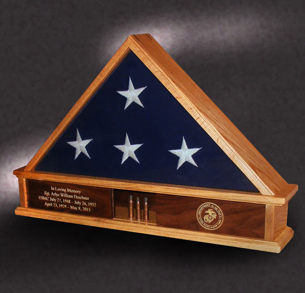 5x9 red oak flag case with shell casings from funeral