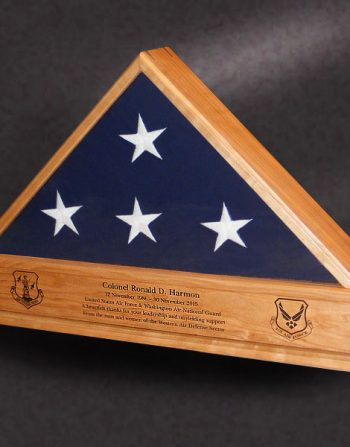 "5x9 ""Hollow Bottom"" Flag Case cherry memorial flag case with engraved nameplate"