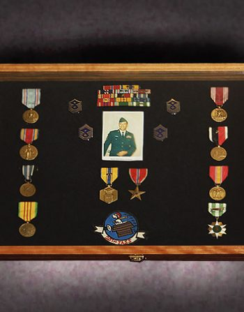 16x24x2.5-cherry-shadow-box-with-military-memorabilia