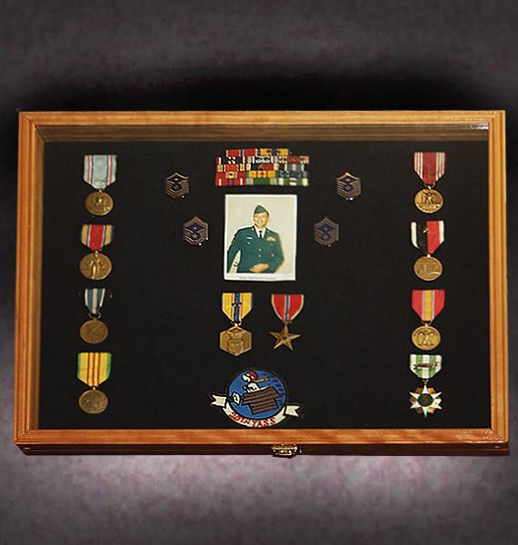 16x24x2.5-cherry-shadow-box-with-military-memorabilia