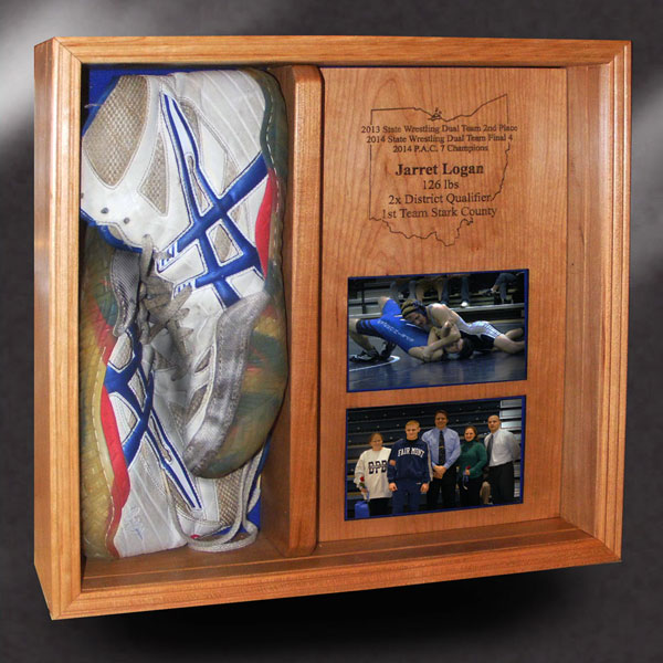 wood shadow box for wrestling shoes