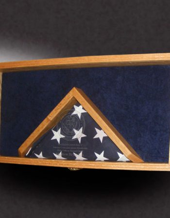 red oak shadow box with a 3x5 flag