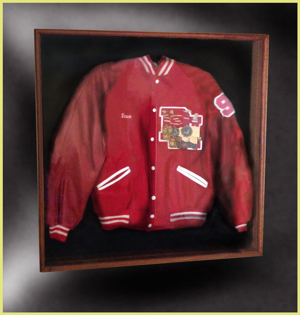 varsity letter jacket shadow box