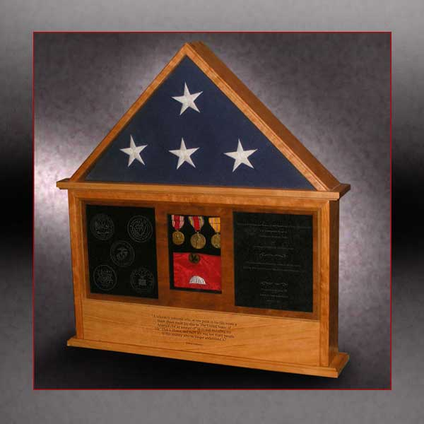 custom wood shadow box with flag