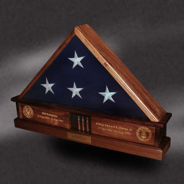 Walnut Flag Box With Shell Casings And Laser Engraving