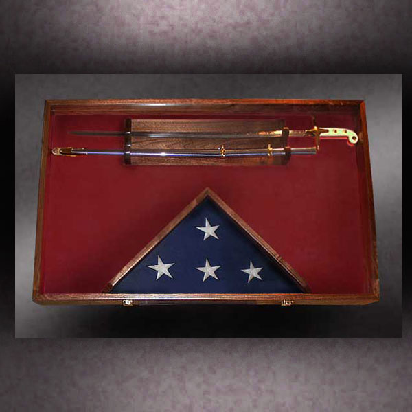 finished shadow box with sword and flag