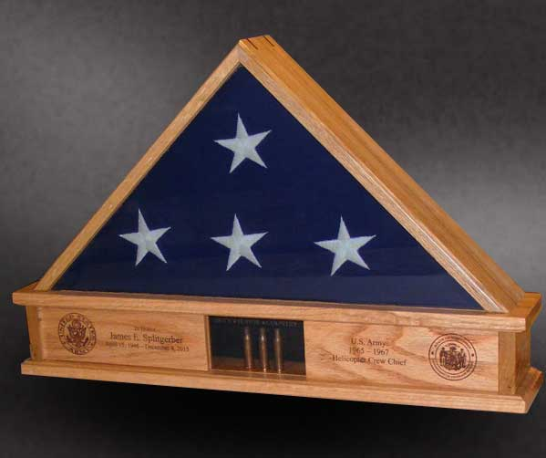 Red Oak 5x9 Lite Display Base Flag Case With 3 Shells And