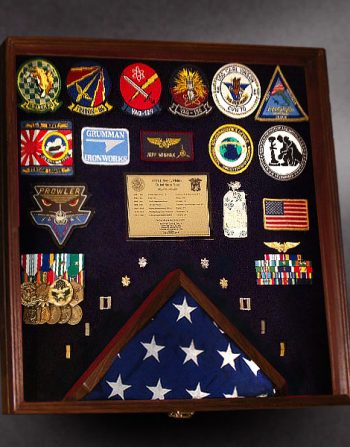 Walnut Shadow box for Military retirement