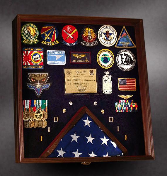 Walnut Shadow box for Military retirement