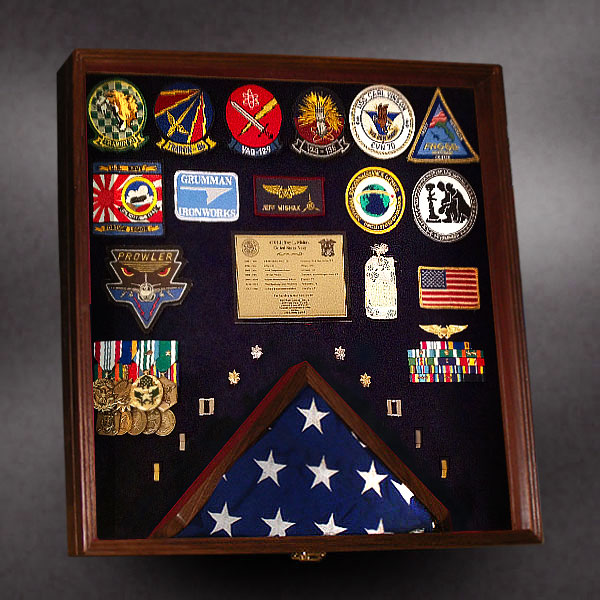 24x24 Shadow Box With 3x5 Bottom Center Flag Frame