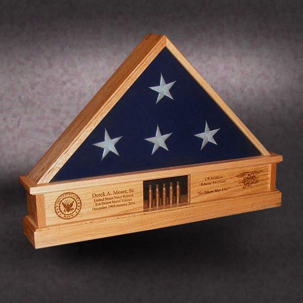 Oak Flag Box for Navy Seal