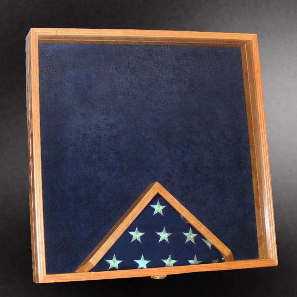 24x24 shadow box with 3x5 bottom center flag frame