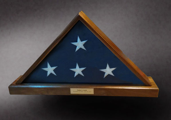 Walnut Memorial Flag Box with Brass Nameplate and UV GLass