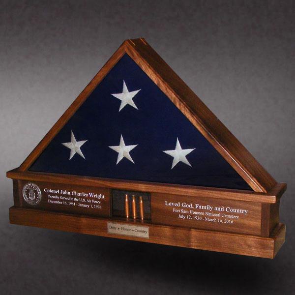 Walnut Funeral Flag Case