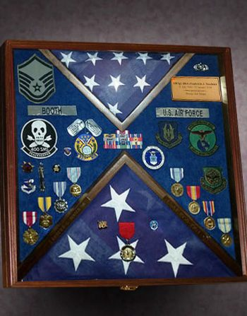 Military Shadow Box with 2 Flags and Laser Engraving
