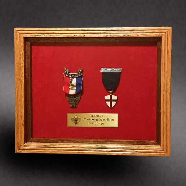 Eagle Scout Medal, God and Country Medal shadow box
