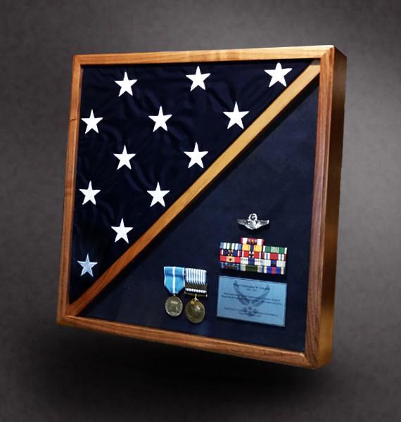 Walnut Shadow Box with 5x8 Flag