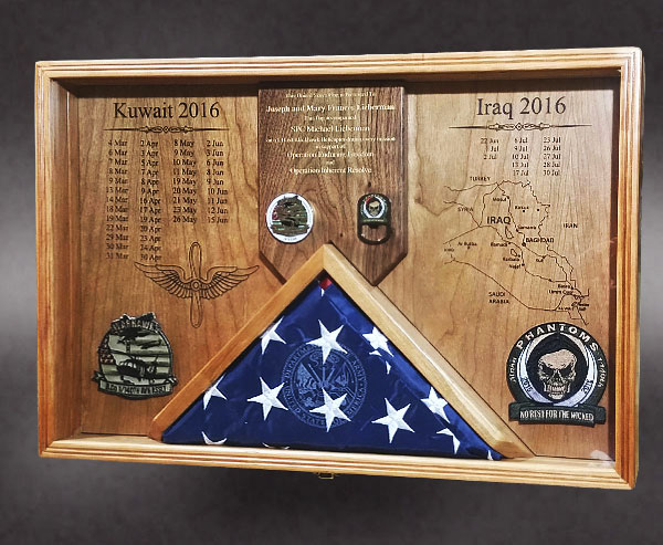 Cherry shadow Box for Iraq Veteran.